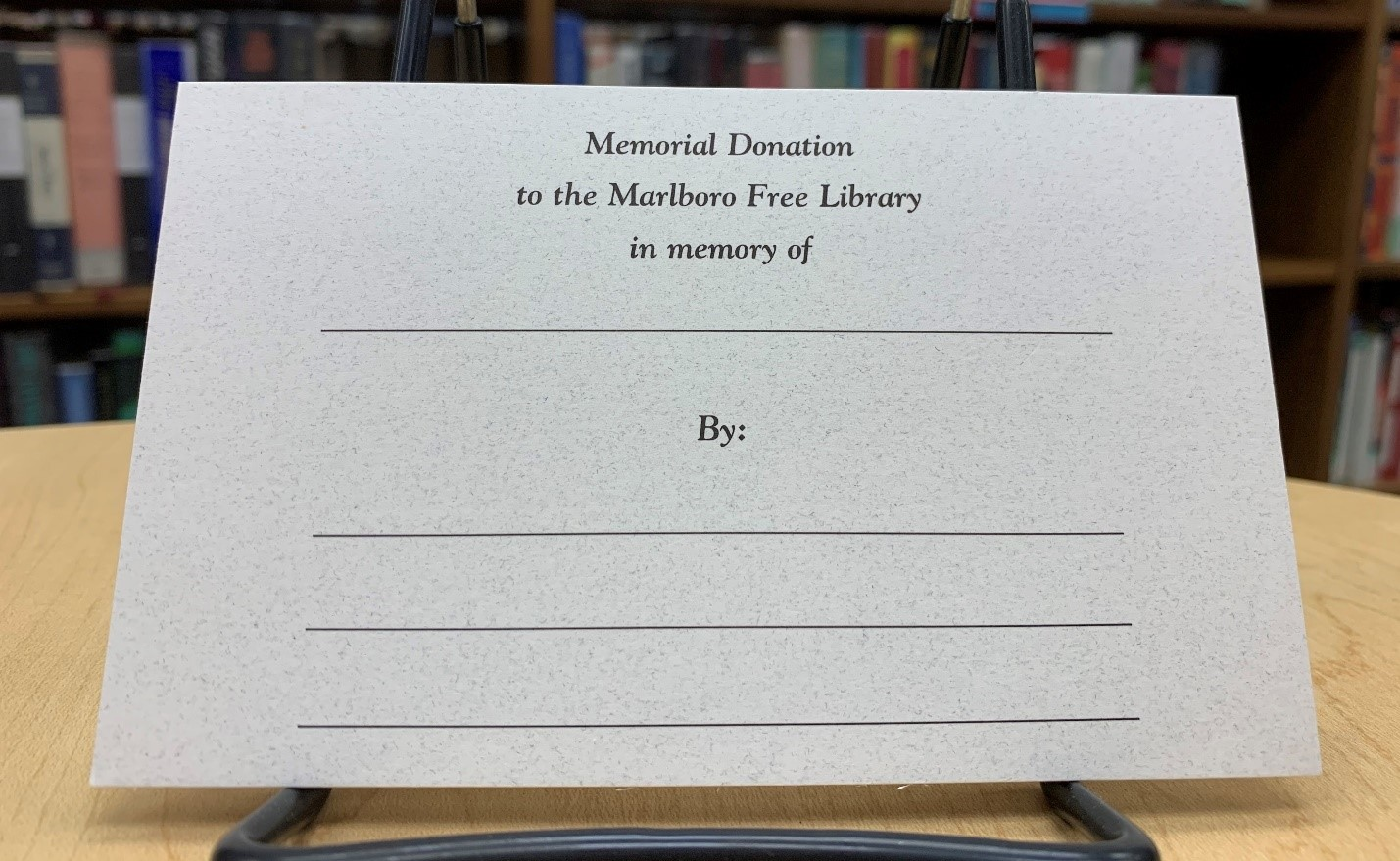 Memorial Donation to the Marlboro Free Library